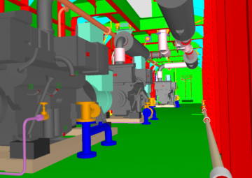 Diesel engines and exhaust piping in Tribon model